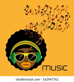 music design over  orange background vector illustration