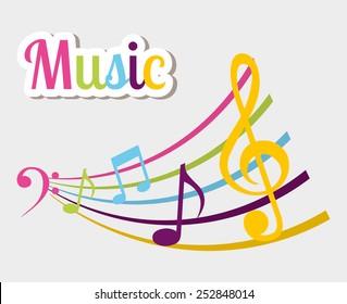 Music design over white background, vector illustration.