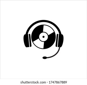 music disc wearing a headset vector icon logo design template for podcast, channel, application and digital sound streaming provider industry
