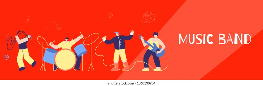 Music Disco Rock Jazz Pop Band Performance. Musician People Playing Musical Instruments Singing Loud Song on Concert Scene. Flat Horizontal Banner. Promotion Advertising Festival Vector illustration