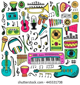 Music doodle collection. Hand drawn illustration. Vector design element notes and musical instruments.