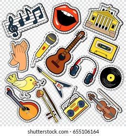 Music Doodle with Guitar, Microphone and Headphones.  Musical Stickers, Patches and Badges. Vector illustration
