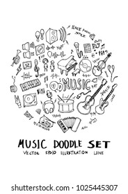 Music doodle illustration circle form on a4 paper wallpaper line sketch style