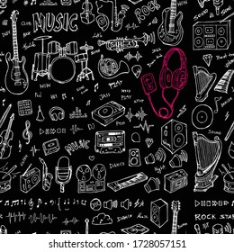 Music doodle seamless background seamless pattern. Drawing illustration hand drawn vector on chalkboard