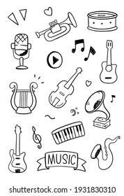 Music doodle vector illustration. Drawing design concept