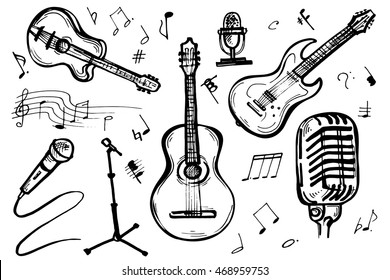 Music Doodle Vector Set. Hand drawn sketch of guitar and microphone isolated on white background