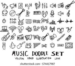 Music doodles line vector illustration