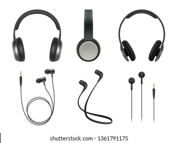 Music earphones. Quality electronic items stereo headphones technology vector realistic pictures