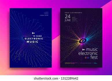 Music Electronic fest poster design. Sound flyer with abstract geometric shape. Color dynamic circle of dots. Vector template