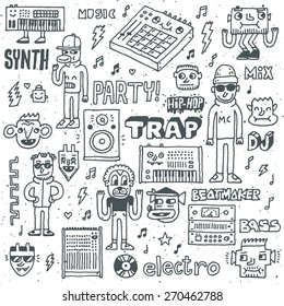 Music Electronic Style Funny Wacky Doodle Set. Contemporary Electronic Musical Instruments. Synthesizers, Midi Controllers, Samplers and Drum Machines.