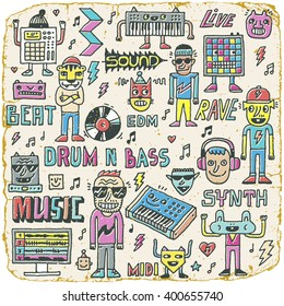 Music Electronic Style Funny Wacky Doodle Set. Contemporary Electronic Musical Instruments. Synthesizers, Midi Controllers, Samplers and Drum Machines. Hand drawn illustration. Vintage Texture.