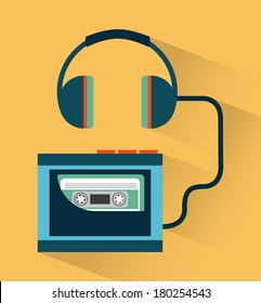 Music elements with flat design, Vector illustration