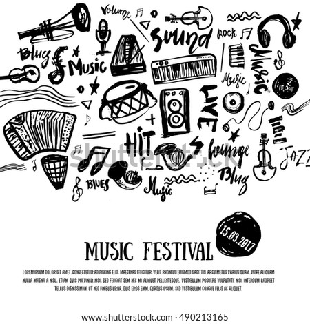 Music Elements Grunge Musical Background Vector Stock Vector