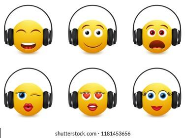 Music emoji icon set. Vector illustration of emoticons wearing headphones isolated on white background.