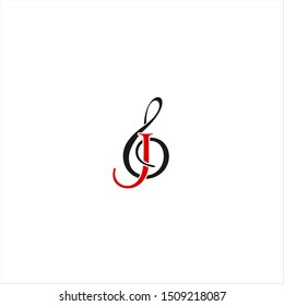 music ensemble, musical scale  with letter J logo design idea