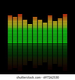Music equalizer. Isolated on black background.Vector colorful illustration.