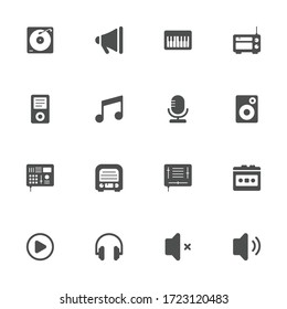 Music equipment flat icons in gray. Set of 16 pieces.