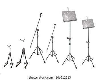 Music Equipment, An Illustration Collection of Music stand with Sheet Music, Microphone Stand and Guitar Isolated on White Background