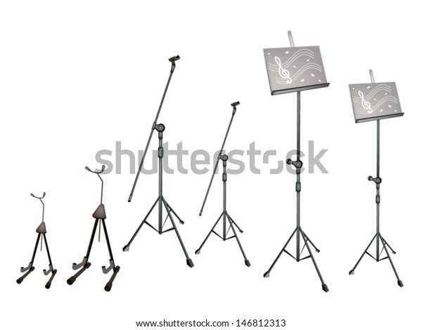 Music Equipment Illustration Collection Music Stand Stock