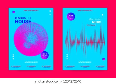 Music Event Banner. Techno Sound Wave Poster. Vector Amplitude of Dotted Lines. Wave Music Equalizer Concept. Promotion of Night Event. Poster for Announcement of Dj Performance. Flyer for Dance Event