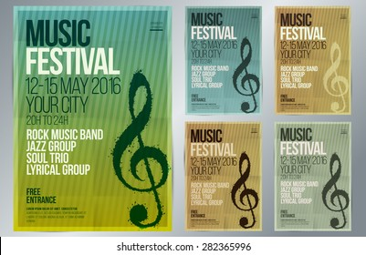 Music event design. Suitable for poster, promotional flyer, invitation, banner or magazine cover. Set of templates with vintage colors. Background texture folded paper. Vector. Editable by layers.