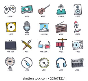 Music and event icon set. Vector doodle illustrations.