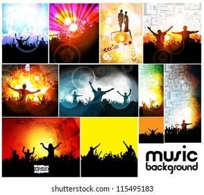 Music event illustration set