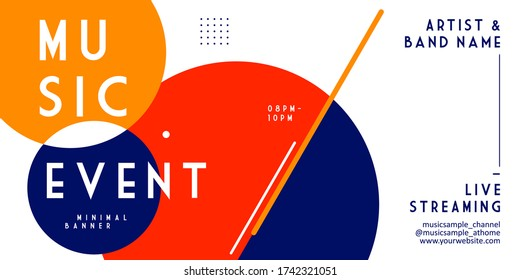 Music event live streaming banner templates. Trendy stylish abstract geometric glitch background layout for publication and print. stay at home during a pandemic with a music