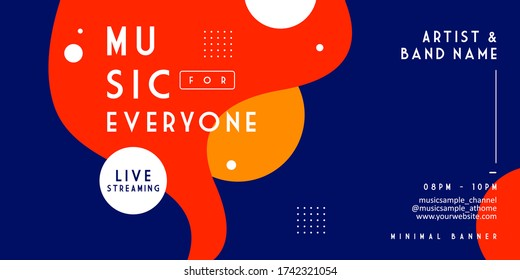 Music event live streaming banner templates. Trendy stylish abstract liquid shapes background layout for publication and print. stay at home during a pandemic with a music