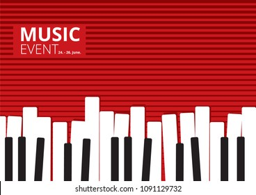 Music Event Piano Poster. Vector illustration
