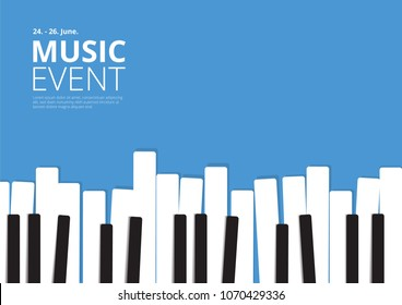 Music Event Poster Piano Vector illustration