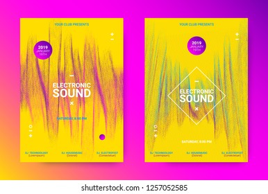 Music Event Promotion. Electronic Sound Poster Concept. Flyer for Techno Music Festival. Dance Event Banner with Wave Dotted Lines. Distortion and Movement Effect. Futuristic Equalizer for Night Event