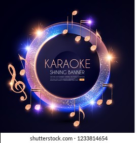 Music Event Shining Banner with Golden Notes and Lights. Festival Design Template. Vector illustration