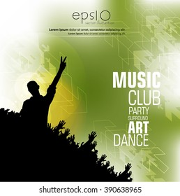 Music evnt party, poster, vector