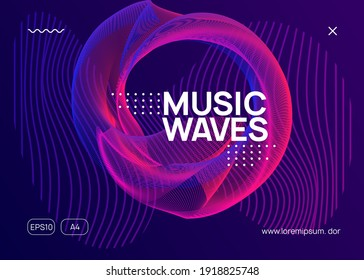 Music fest. Dynamic fluid shape and line. Commercial concert brochure template. Music fest neon flyer. Electro dance. Electronic trance sound. Techno dj party. Club event poster.