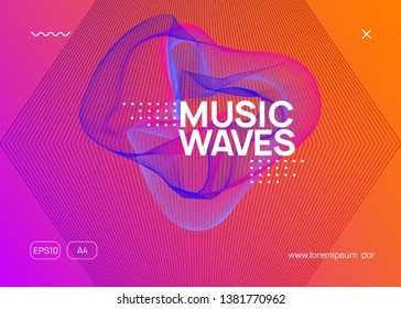Music fest. Futuristic show cover design. Dynamic fluid shape and line. Music fest neon flyer. Electro dance. Electronic trance sound. Techno dj party. Club event poster.