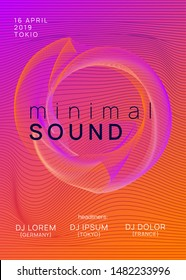 Music fest. Minimal concert brochure layout. Dynamic gradient shape and line. Music fest neon flyer. Electro dance. Electronic trance sound. Techno dj party. Club event poster.