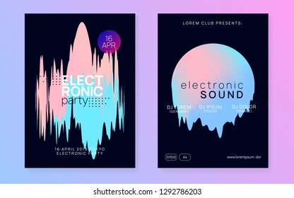 Music fest set. Commercial indie party invitation template. Fluid holographic gradient shape and line. Electronic sound. Night dance lifestyle holiday. Summer poster and music fest flyer.