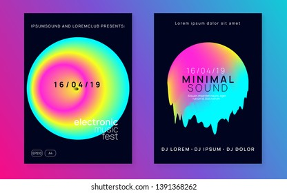 Music fest set. Commercial indie concert brochure layout. Electronic sound. Night dance lifestyle holiday. Fluid holographic gradient shape and line. Summer poster and music fest flyer.