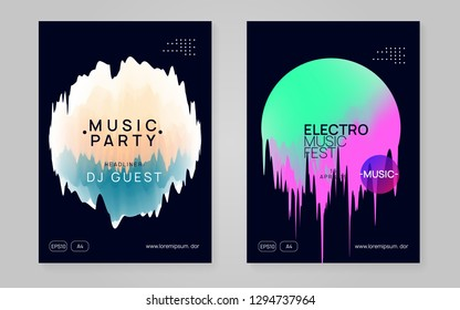Music fest set. Electronic sound. Night dance lifestyle holiday. Fluid holographic gradient shape and line. Geometric indie concert magazine design. Summer poster and music fest flyer.