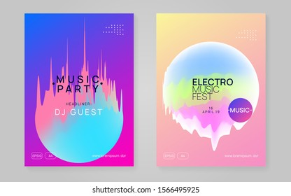 Music fest set. Fluid holographic gradient shape and line. Electronic sound. Night dance lifestyle holiday. Commercial disco show banner design. Summer poster and music fest flyer.