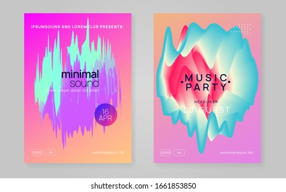 Music fest set. Fluid holographic gradient shape and line. Modern house club banner layout. Electronic sound. Night dance lifestyle holiday. Summer poster and music fest flyer.