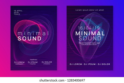 Music fest. Trendy discotheque magazine set. Dynamic gradient shape and line. Music fest neon flyer. Electro dance. Electronic trance sound. Techno dj party. Club event poster.