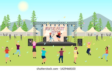 Music festival 2019 flat vector illustration. Open air live performance. Rock, pop musician concert, party in park, camp. Summertime fun outdoor activity. Dancing cartoon characters