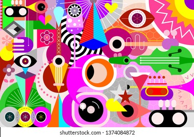 Music festival abstract art vector background. Design with musical instruments, geometric shapes and cocktail glasses.