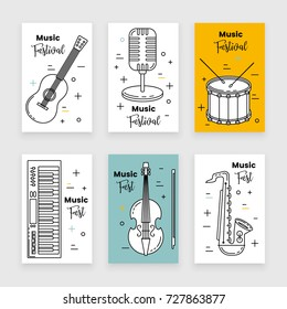 Music festival banner line art set with keyboard, guitar and saxophone