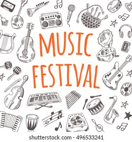 Music festival card. Hand drawn vector illustration. Guitar, domra, gramophone, bagpipe, microphone, maracas, cassette, piano and other. Can be used for  poster, banner, emblem, sticker, placard.