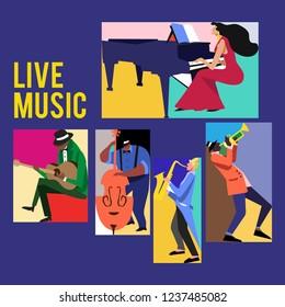 Music Festival Colorfull Jazz Musicians Flat Vector illustration