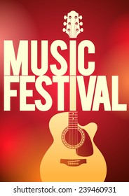 Music festival concert poster template. Acoustic guitar shape on the red background vector illustration.