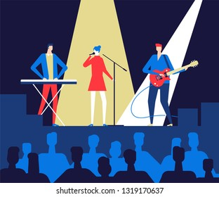 Music festival - flat design style colorful illustration. High quality composition with a music band performing on the stage, singing and playing instruments public listening. Entertainment concept